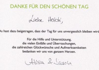 Dankschreiben von Brautpaar Alisia und Sascha I Heidi Debbah Maskenbildnerin und Visagistin