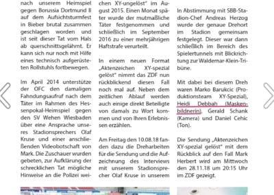 ZeitungsauschnitT, Dreharbeiten im Stadion von Offenbacher Kickers / Heidi Debbah Maskenbildnerin & Visagistin