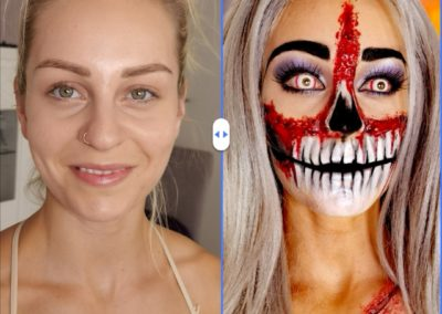 Halloween-Makeup, vorher / nachher I Maskenbildnerin Heidi Debbah