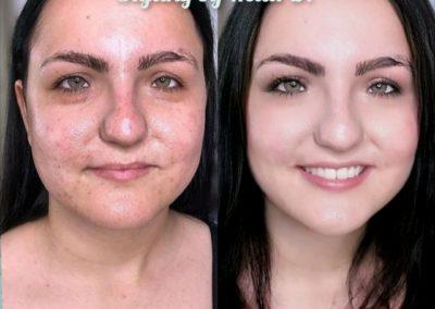 vorher/nachher, mit und ohne Makeup I Heidi Debbah, Maskenbildnerin & Visagistin