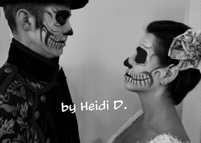 Skull Makeup bei Mann und Frau, sw I Heidi Debbah, Maskenbildnerin & Visagistin